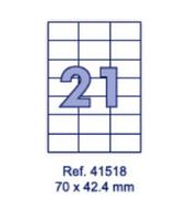 Наклейки А4, 70х42,4мм, 21/лист, 100 листов