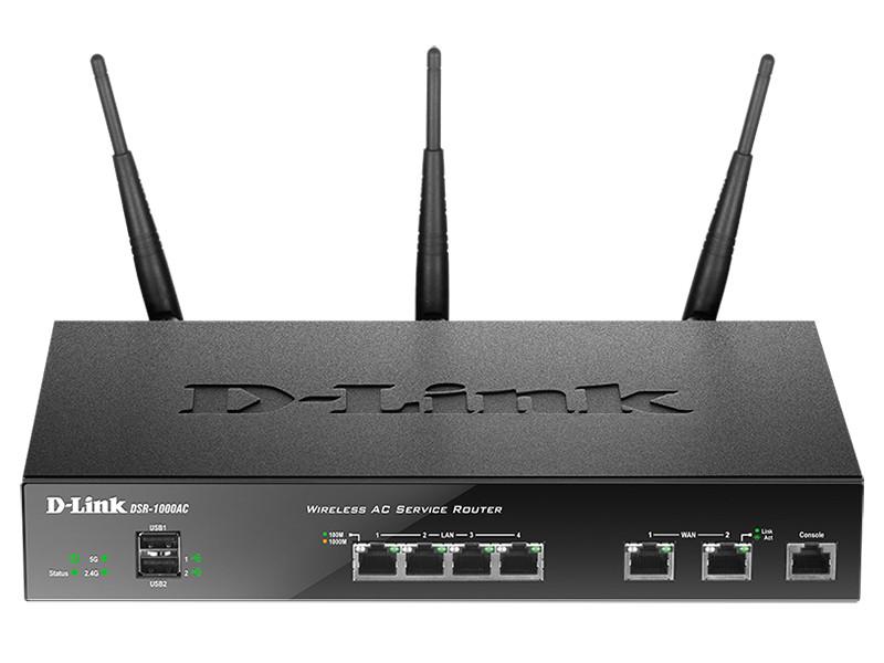 D-link DSR-1000AC  Беспроводной двухдиапазонный гигабитный сервисный маршрутизатор AC1750