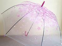 "Зонт прозрачный ""Сакура"", розовая"