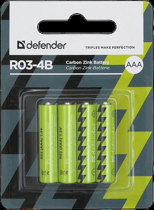 Элемент питания R03 AAA Defender солевая  R03-4B - 4 штуки в блистере, фото 2