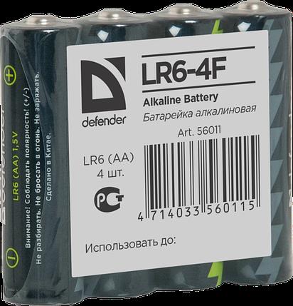 Элемент питания LR6 AA Defender Alkaline LR6-4F - 4штуки в пленке, фото 2