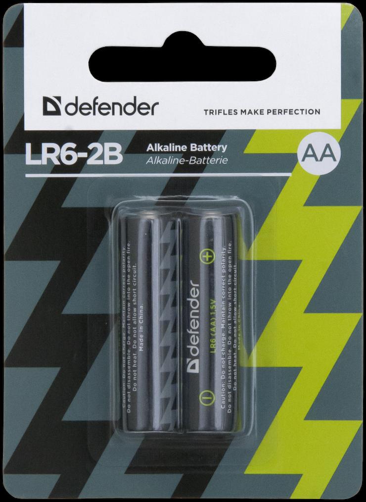 Элемент питания LR6 AA Defender Alkaline LR6-2B - 2 штуки в блистере