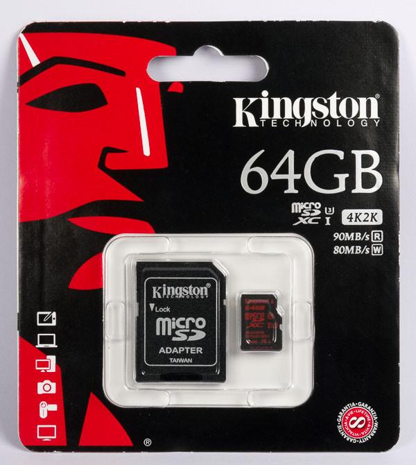Карта памяти MicroSD 64GB Class 10 U3 Kingston SDCA3/64GB