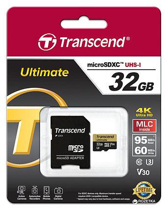 Карта памяти MicroSD 32GB Class 10 U3 Transcend TS32GUSDU3M, фото 2