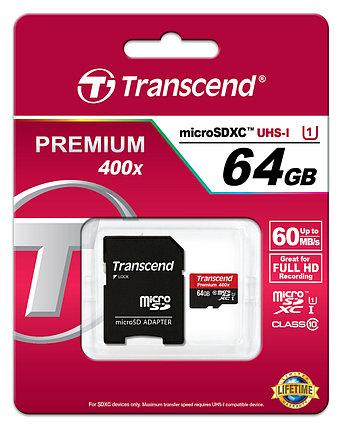 Карта памяти MicroSD 64GB Class 10 U1 Transcend TS64GUSDU1, фото 2