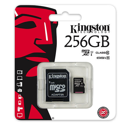 Карта памяти MicroSD 256GB Class 10 U1 Kingston SDC10G2/256GB, фото 2