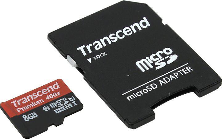 Карта памяти MicroSD 8GB Class 10 U1 Transcend TS8GUSDU1