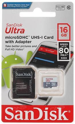 Карта памяти MicroSD 16GB Class 10 U1 SanDisk SDSQUNS-016G-GN3MA, фото 2