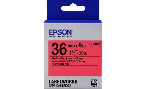 Лента Epson C53S657004 LK-7RBP Пастельная лента 36мм,Красн./Черн., 9м, фото 2