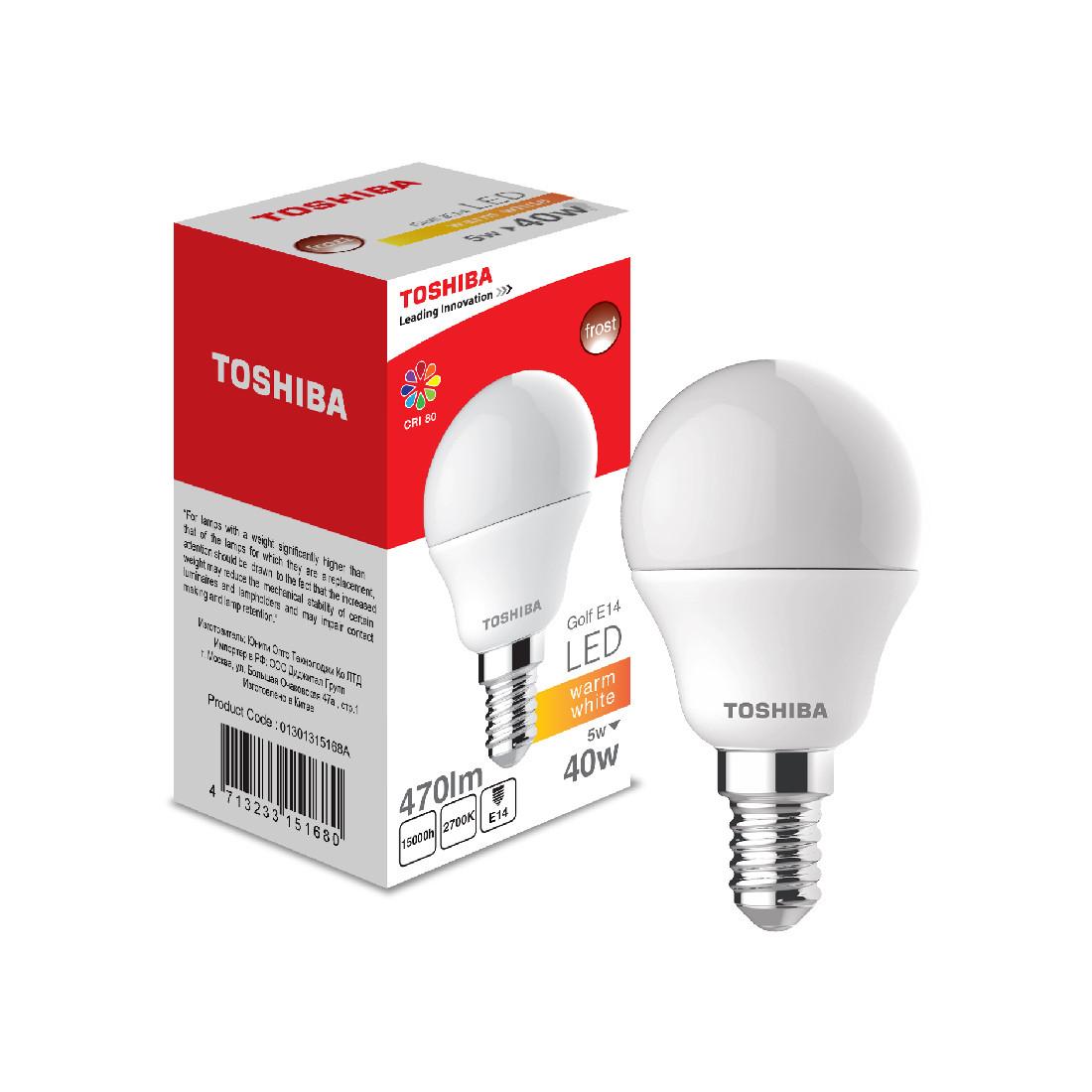 Светодиодная лампа Toshiba Golf 5W (40W) 2700K 470lm E14 ND Тёплый