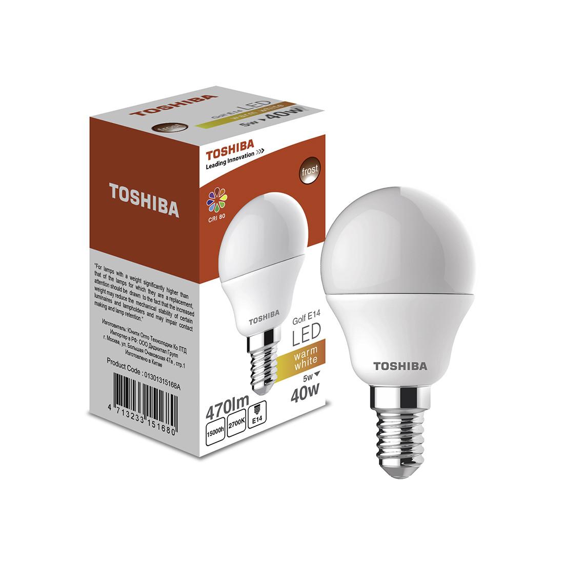 Светодиодная лампа Toshiba Golf 5W (40W) 2700K 470lm E27 ND E27 Тёплый