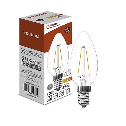 Филаментная лампа Toshiba C35 2,9W (25W) 2700K 250lm E14 ND Тёплый, фото 2