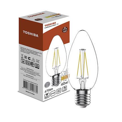Филаментная лампа Toshiba C35 4W (40W) 2700K 470lm E27 ND Тёплый, фото 2