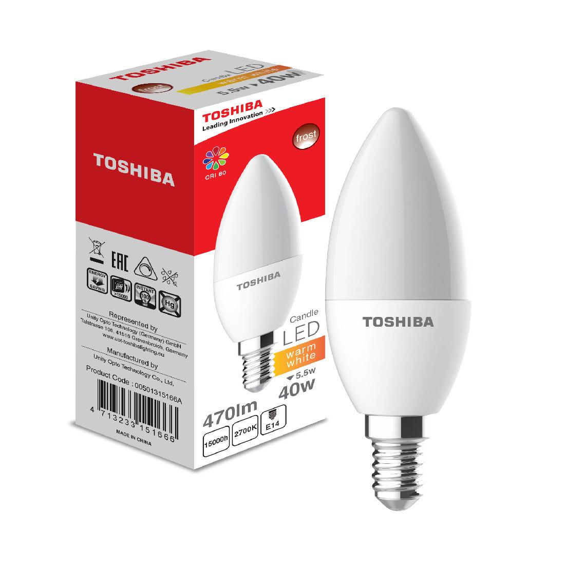 Светодиодная лампа Toshiba 5,5W (40W) 2700K 470lm E14 Dim Тёплый