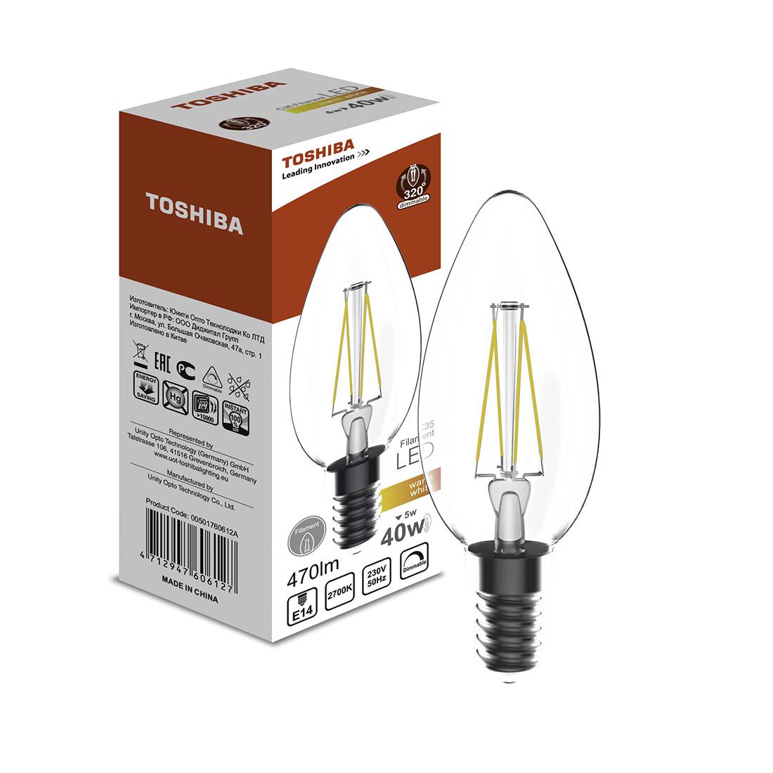 Филаментная лампа Toshiba C35 5W (40W) 2700K 470lm E14 Dim Тёплый