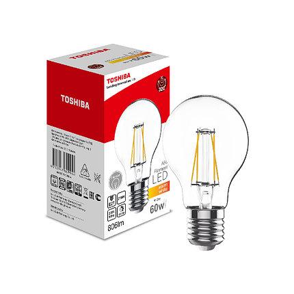 Филаментная лампа Toshiba A60 7W (60W) 2700K 806lm E27 ND Тёплый, фото 2