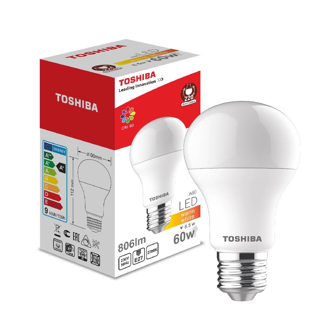 Светодиодная лампа Toshiba А60 8,5W (60W) 2700K 806lm E27 Dim Тёплый