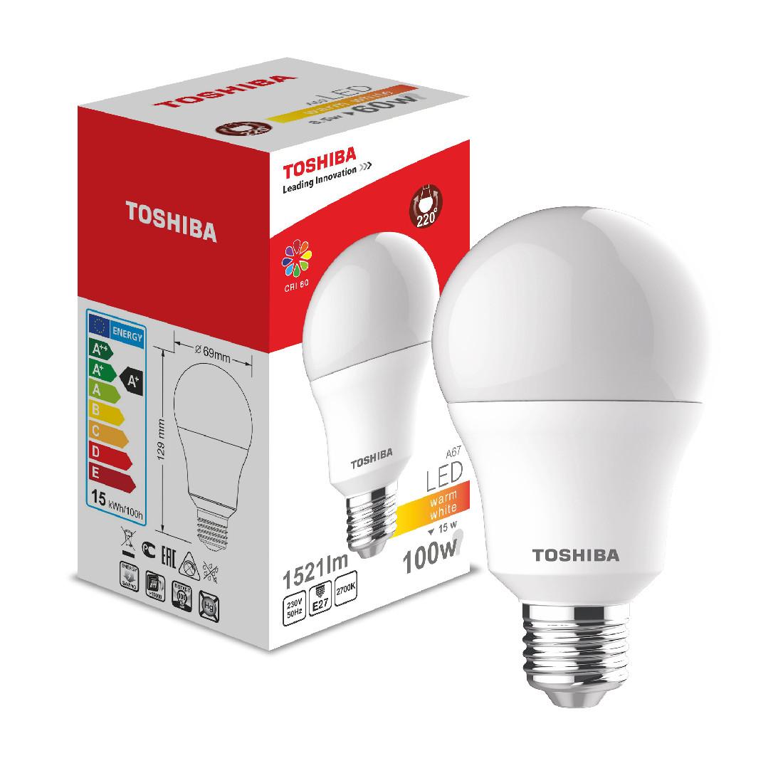 Светодиодная лампа Toshiba A60 15W (100W) 2700K 1521lm E27 ND Тёплый