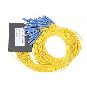 Сплиттер оптоволоконный PLC с брекетом А-Оптик 1х64 SC/UPC 1,5m SM