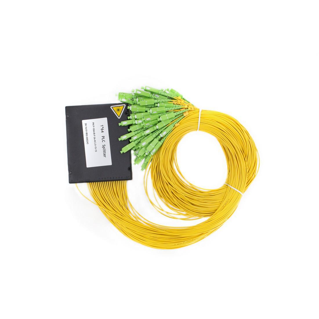 Сплиттер оптоволоконный PLC с брекетом А-Оптик 1х64 SC/APC 1,5m SM