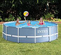 Каркасный бассейн круглый 366х99см с фильтр-насосом и лестницей , Intex 28718/28716