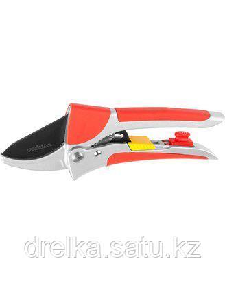 Секатор садовый GRINDA 8-423037_z01, EXPERT, алюминиевые ручки, упорная пластина, храповый механизм, 200 мм