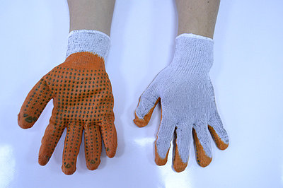Перчатки для защиты рук облитые из латекса