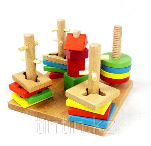 Деревянный логический сортер-головоломка