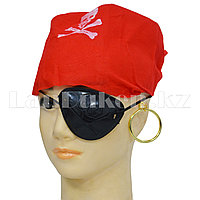 Набор пирата (бандана, повязка на глаз, серьга) красный