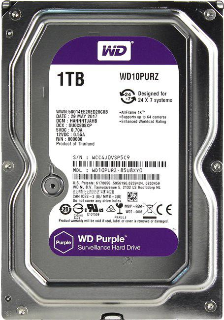 Western Digital WD10PURZ Жесткий диск Purple HDD 1Tb SATA 3,5""