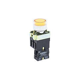 Кнопка открытая ANDELI XB2-BW3571 (жёлтая с подсветкой)