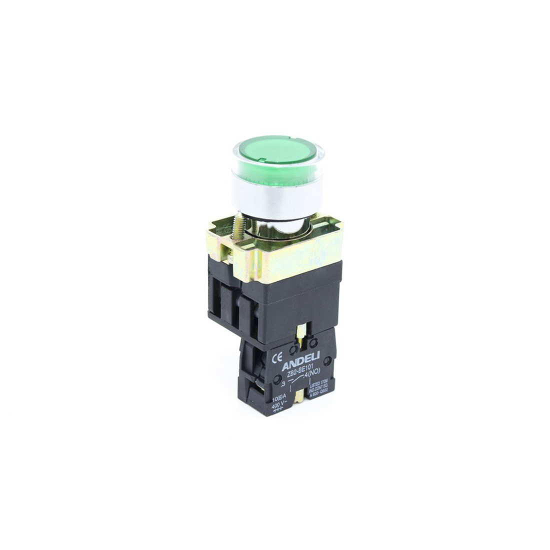 Кнопка открытая ANDELI XB2-BW3371 (зелёная с подсветкой)