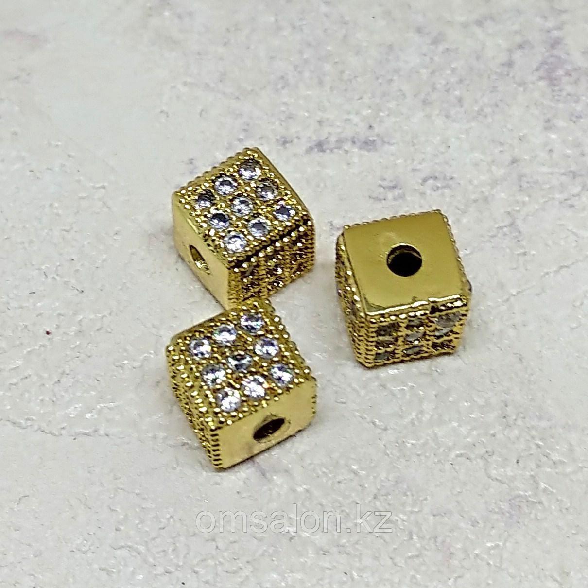 Бусина Кубик, с фианитами, 5х5х5мм