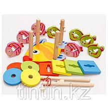 Деревянный логический сортер-головоломка с магнитной рыбалкой, фото 2