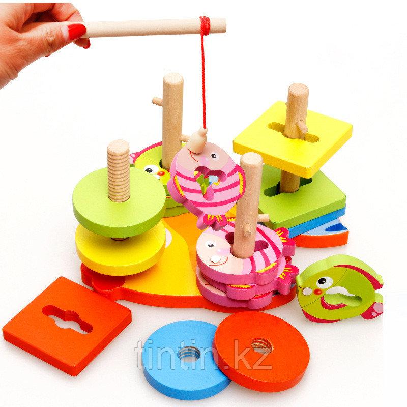 Деревянный логический сортер-головоломка с магнитной рыбалкой
