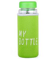 Бутылочка стеклянная с чехлом для напитков My Bottle 500 мл (май батл зеленая)