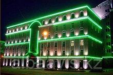 Освещение зданий, фасадов зданий светодиодной лентой, гибким неоном, прожекторами, светильниками.