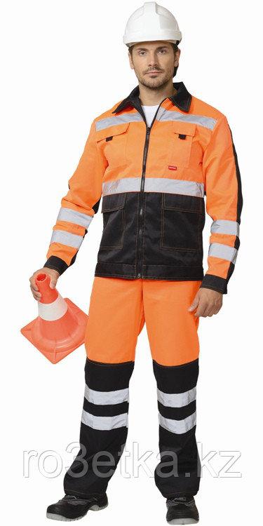 """Костюм """"МАГИСТРАЛЬ-ЛЮКС"""" : куртка, брюки оранжевый с чёрным и СОП"""