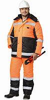 """Костюм """"МЕТЕОР"""" зимн.: куртка дл., полукомбинезон оранжевый с чёрным и СОП"""