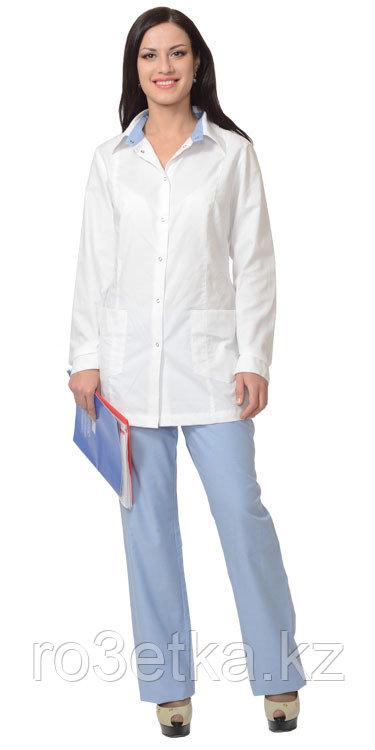 """Блуза """"Мэри"""" белая с голубым"""
