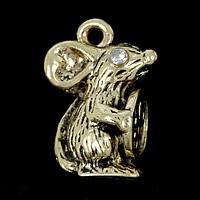 """Сувенир кошельковый металл """"Мышка с рублём, стразы"""" 2х0,8 см, фото 1"""