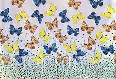 Шторка для ванной комнаты 180 х 170 (ткань) бабочки
