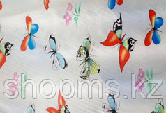 Шторка для ванной комнаты 180 х 180 (ткань) бабочки разноцветные