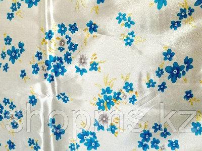Шторка для ванной комнаты 180 х 180 (ткань) цветы синие на белом фоне  ***