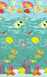 Шторка для ванной комнаты 180 х 180 (ткань) морское дно с рыбами