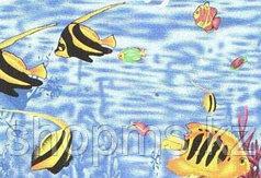 Шторка для ванной комнаты 180 х 180 (ткань) рыбы желтые на дне