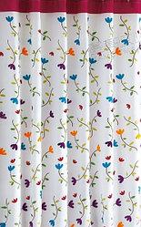 Шторка для ванной комнаты 180 х 180 (ткань) цветы на белом фоне (красная полоса)