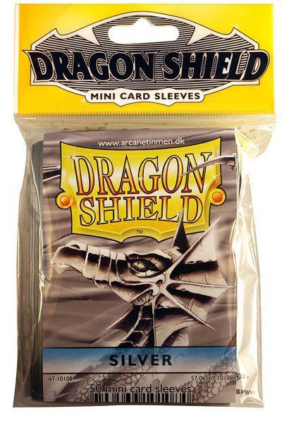 """АКСЕССУАРЫ: Протекторы Мини """"Dragon Shield"""" (разноцветные, 50 шт.): серебряные"""