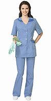 "Костюм ""ЖЕНЕВА"" женский: куртка, брюки светло-голубой с тёмно-синим"