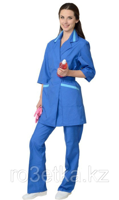 Костюм для сферы услуг женский: куртка, брюки васильковый с голубым